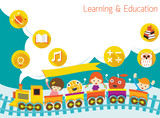 Fototapety School, Train, Kids Text Balloon Background