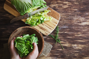 cooking salad chinese cabbage