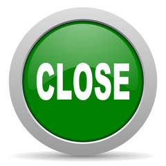 close green glossy web icon