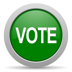 vote green glossy web icon