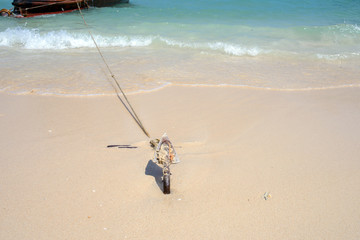 Anchor on a beach for boat anchors.