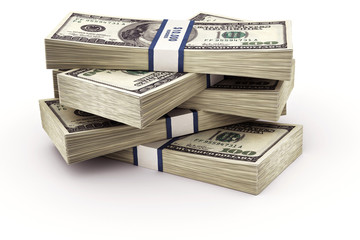 3d rendering of a stack of 100 dollar bills