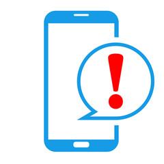 Icono smartphone atencion azul