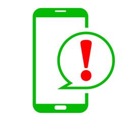 Icono smartphone atencion verde