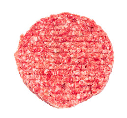 Hand Made From Minced Beef, Pork one burger isolated on white