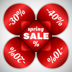Spring Sale stickers in flower shape. Editable vector. Eps 10
