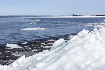 Blocks of ice and snow in lake port