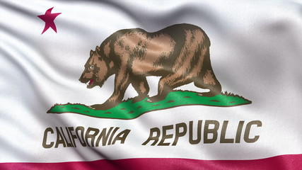 US state flag of California waving in the wind - seamless loop
