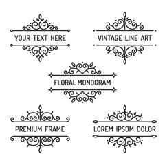 Vintage floral line art frame