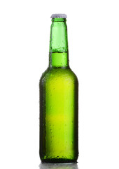 Small green beer bottle with drops