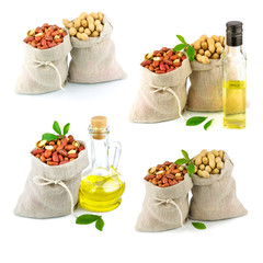 Sacks with peanut and glass bottle of oil with leaves, set