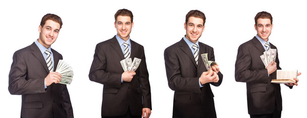 Man with money in suit, set