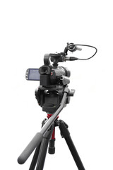 Selected focus camcorder in white background