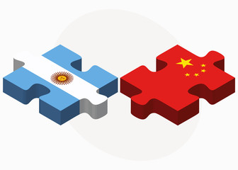 Argentina and China Flags in puzzle
