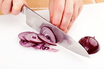 chef chopped red onions