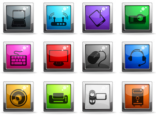 Computer equipment color vector icons