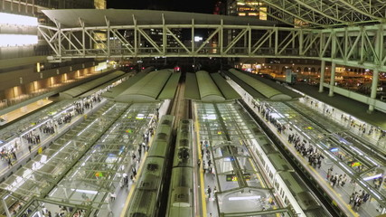 Trains and commuters in a railway station in Osaka, Japan