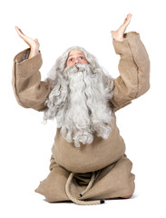 bearded man prays heaven