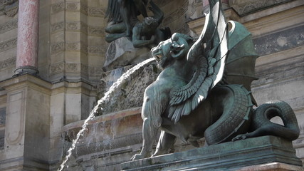 Fountain and statue at St. Michel in Paris, France