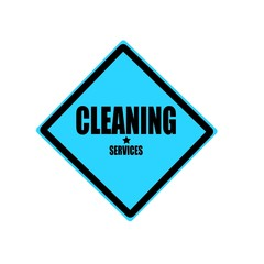 Cleaning services  black stamp text on blue background