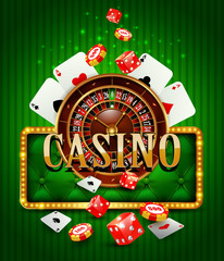 Casino background with cards, chips, craps, roulette.