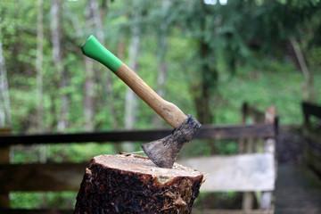 Brennholz mit der Axt machen