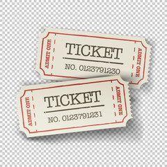 Two cinema tickets (pair). Isolated on transparent background, v
