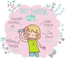 shampoo secco fai da te illustrazione