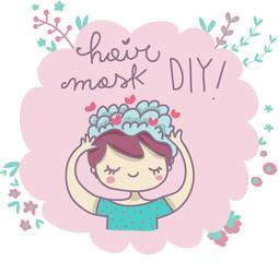 Maschera di bellezza capelli fai da te illustrazione