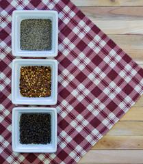 Pepper Varieties on Red Plaid Napkin