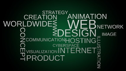 Web design tag word cloud animation - green. Loop able.