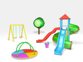 3D rendered playground on white