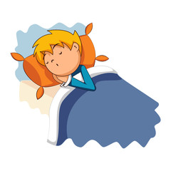 Child sleeping in bed, vector illustration
