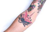 Pink Crane Black Lotus Forearm Tattoo