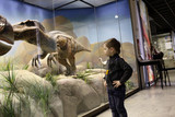Fototapety Boy looks at a dinosaur