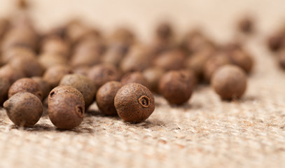 Raw allspice pepper aroma seeds close up texture on vintage text