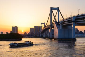 Beautiful Sunet View of Tokyo Skyline and Rainbow Bridge