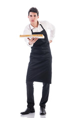 Attractive young chef or waiter holding pizza box