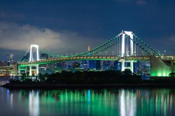 View of Tokyo Bay and Rainbow Bridge at Night