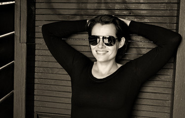 nice woman with sunglasses