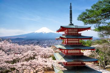 Frühling und Sakura bei der Chureito Pagoda in Japan Fujiyoshida