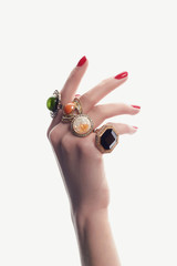 hand with jewelry and manicure