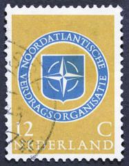 Vintage dutch postage stamp - isolated on Black