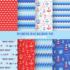 Set of Marine Backgrounds - Seamless Sea Time Pattern