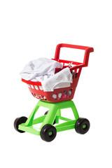 Children shopping cart full of clothing