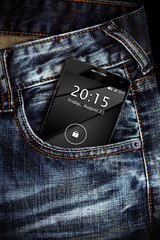 Phone in jeans pocket. Interface on the screen is generated
