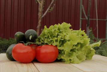 Vegetables on planed planks