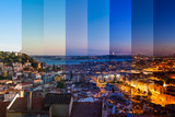 Fototapety Aerial view montage of Lisbon rooftop from Senhora do Monte view