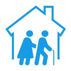 Icono aislado asilo de ancianos azul
