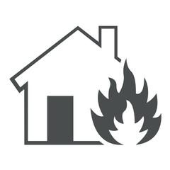 Icono aislado incendio hogar gris
